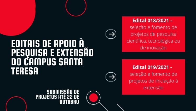 Publicados editais internos de apoio à pesquisa e extensão do Campus Santa Teresa