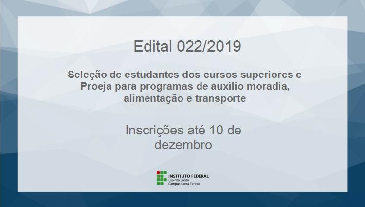 Edital 022-2019 – Seleção de estudantes dos cursos superiores e Proeja para programas de auxílio moradia, alimentação e transporte